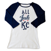 All The Feels | White/Navy Women's Baby Rib 3/4 Sleeve Raglan