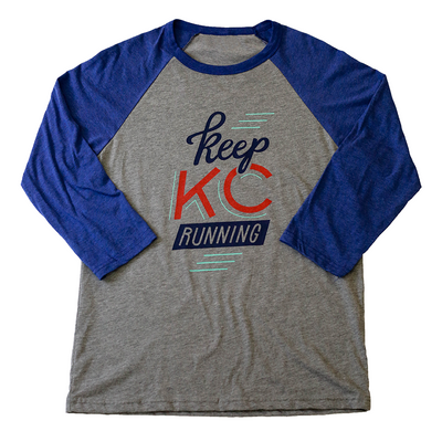 Keep KC Running | Grey/Navy Unisex 3/4 Sleeve Baseball