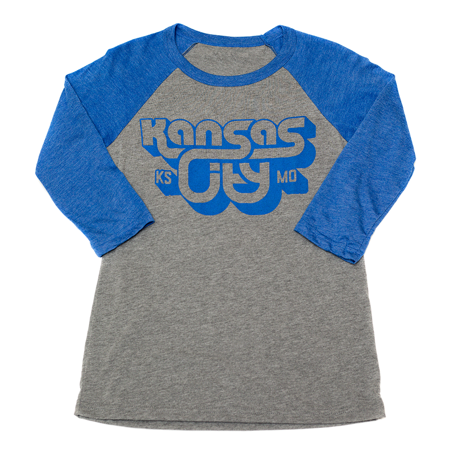KCK/MO 3D | Grey/Royal Blue 3/4 Baseball