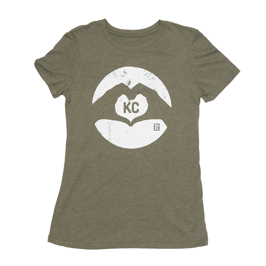Heart KC | Military Green Women's Tri-Blend