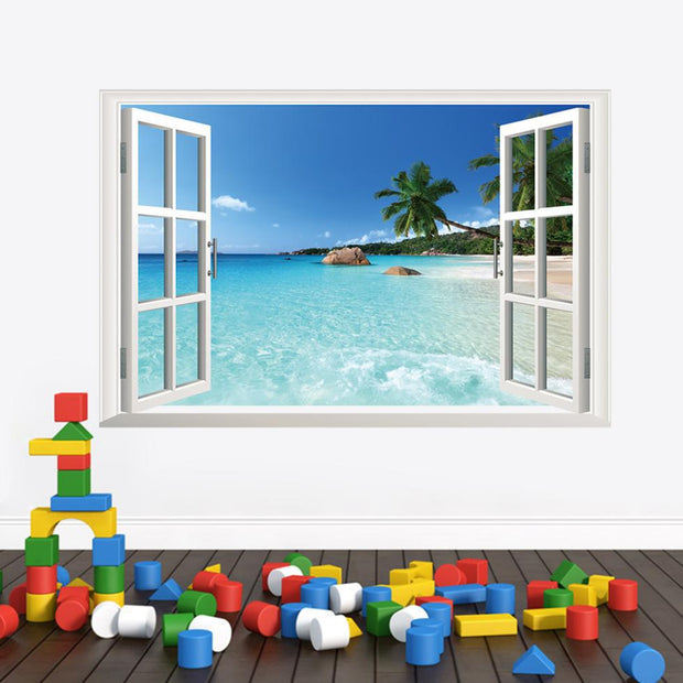 3D Windows Beach View Wall Decal