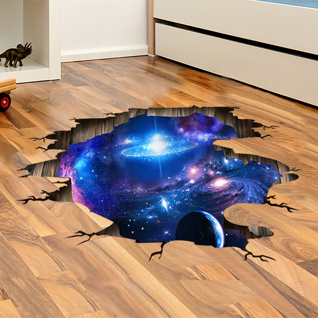 3D Deep Blue Galaxy Wall Decal