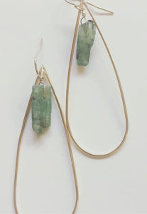 Green Kyanite Teardrop Earring