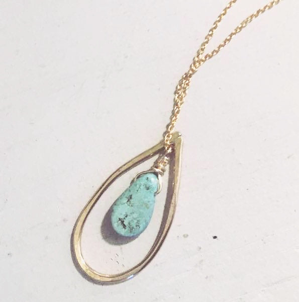 14K Yellow Gold Turquoise Teardrop Drop Stone