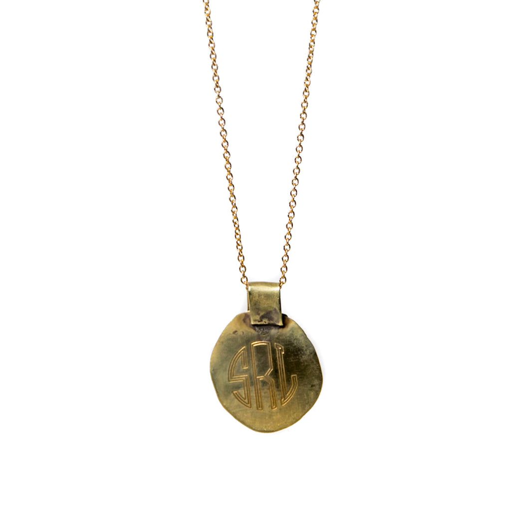 circle monogram pendant necklace