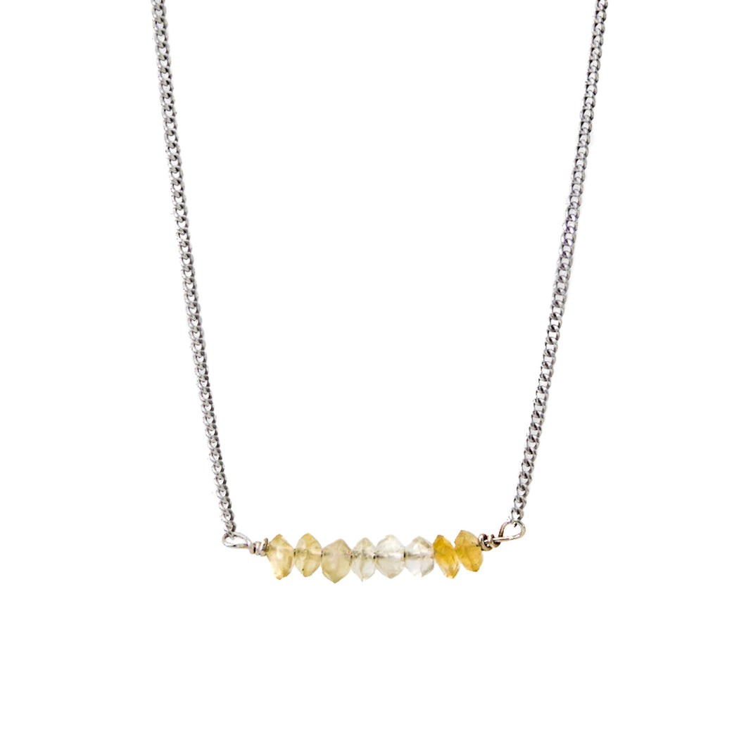citrine choker + white gold curb chain