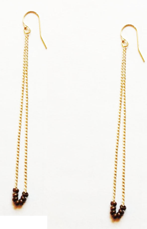 Long Chain Trade Bead Earring 14K