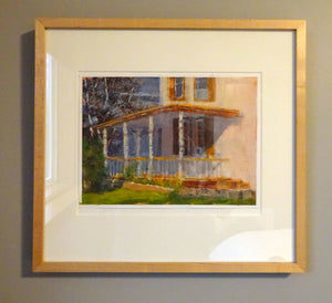 Larry Welo: The Front Porch Framed Oil on Paper