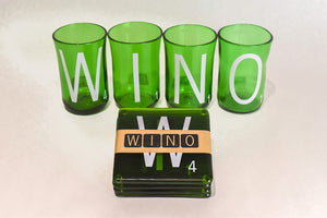 "Glass, ArtTech Studios; ""WINO"" Green Coasters"