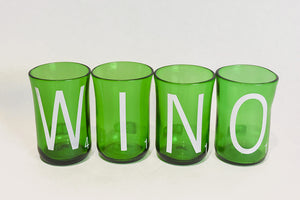 "Glass, ArtTech Studios: Green ""WINO"" Glasses"