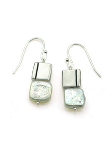 Philippa Roberts: One line pearl. silver earrings