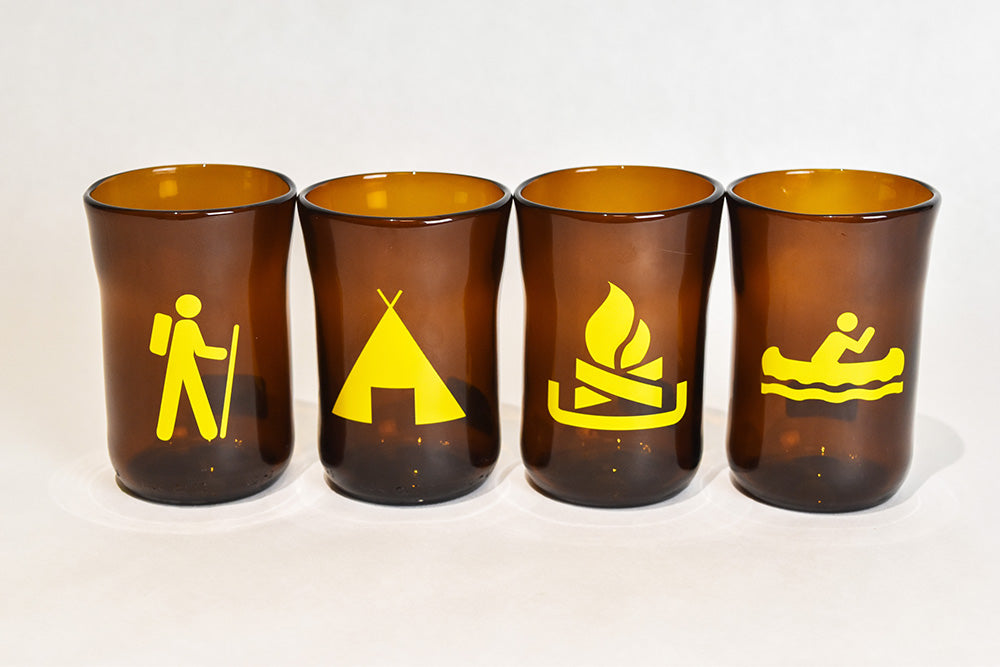 Glass, ArtTech Studios; Brown Camping Glasses