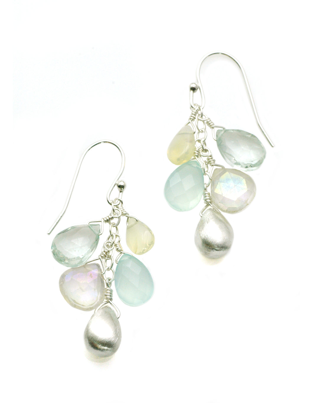 Philippa Roberts: Opal, zircon, amythest, chalcedony. cluster. silver earrings