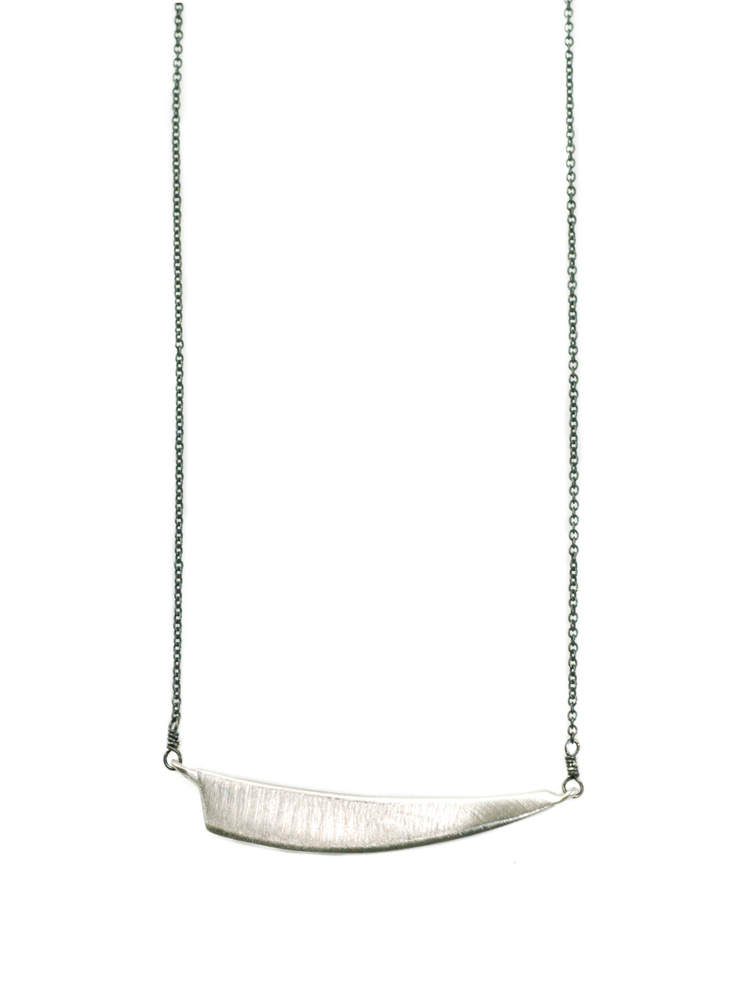 Philippa Roberts: Medium curved triangle. silver necklace