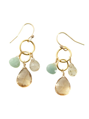 Philippa Roberts: Aqua, quartz, citrine. vermeil earrings