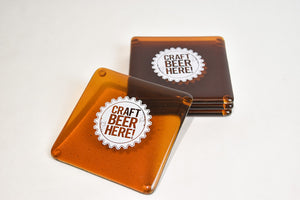 "Glass, ArtTech Studios: Craft ""Beer Here"" Coasters"