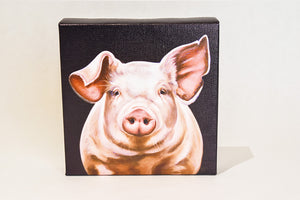 "Valerie Miller -- Steel Cow: Canvas Plaque- ""Walter"""