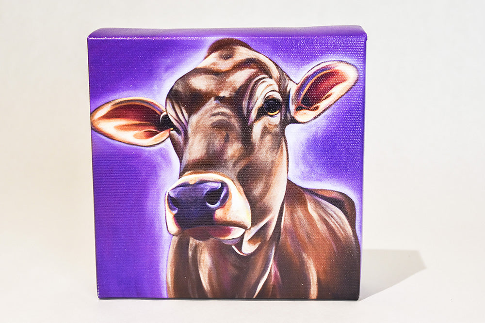Valerie Miller -- Steel Cow: Canvas Plaque-