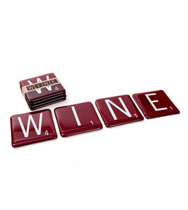 "ArtTech Studios: Up-Cycled ""Wine Scrabble"" Coasters"