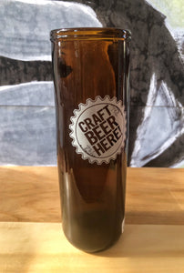 "ArtTech Studios: Up-Cycled Beer Glass ""Craft Beer Here"""