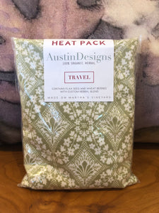 Austin Designs: TRAVEL Heat Pack - Green Floral Diamond Pattern