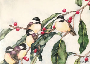 "Barbara Weets: ""Winter Forage - Chickadees"""