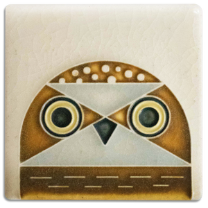 Motawi Tile: 3x3 Owlet - Cream