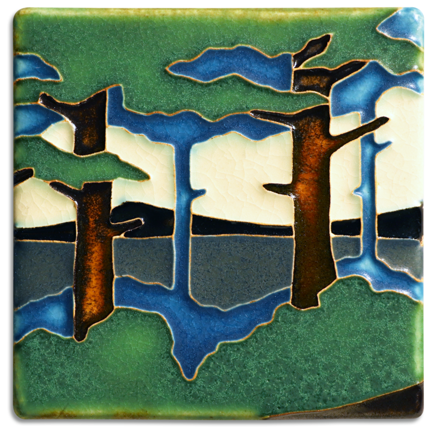 Motawi Tile: 4x4 Pine Landscape - Valley (Summer)