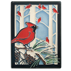 Motawi Tile: 6x8 Winter Cardinals