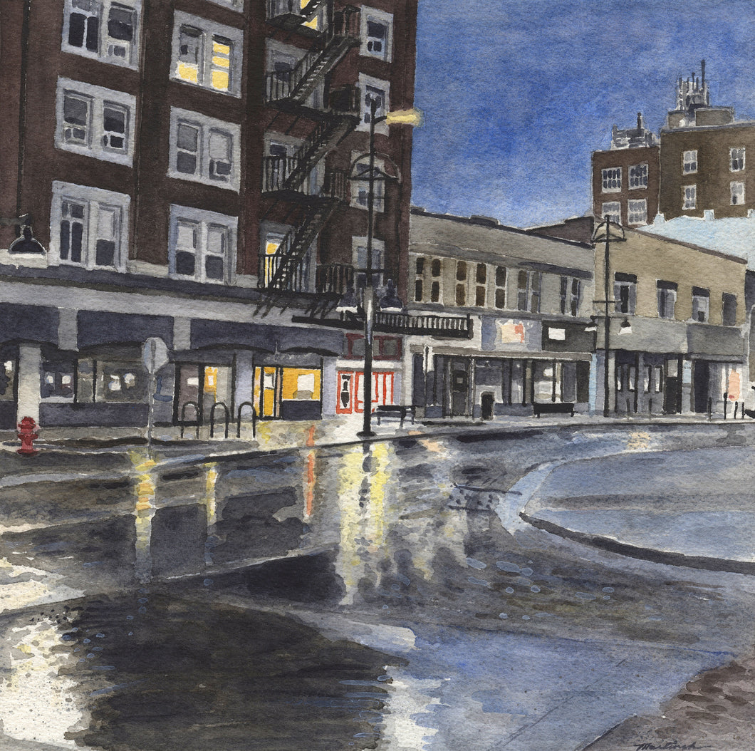 John Martinek: Dark Morning (Iowa City) Watercolor