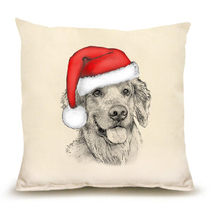 Eric and Christopher: Medium Santa Golden Retriever  Pillow