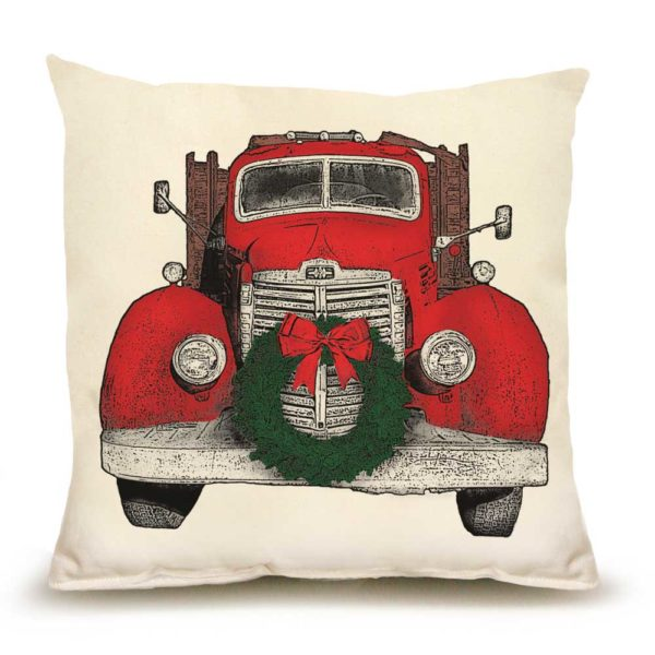 Eric and Christopher: Medium Truck with Wreath Pillow