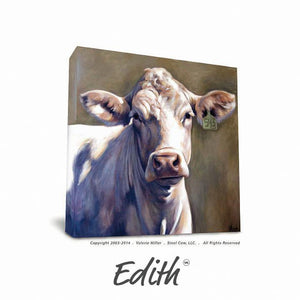 "Valerie Miller -- Steel Cow: Canvas Plaque- ""Edith"""