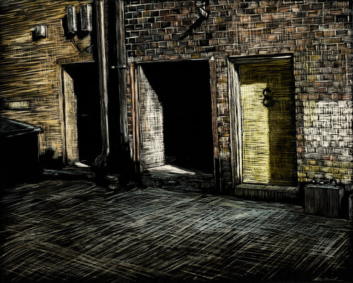 John Martinek: Englert Theatre (Iowa City) Alley Doors Ink on Clayboard