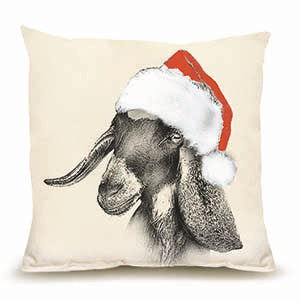 Eric and Christopher: Medium Santa Goat #2 Pillow