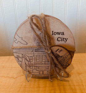 inGENEius: Wooden Iowa City Coasters (4 pack)
