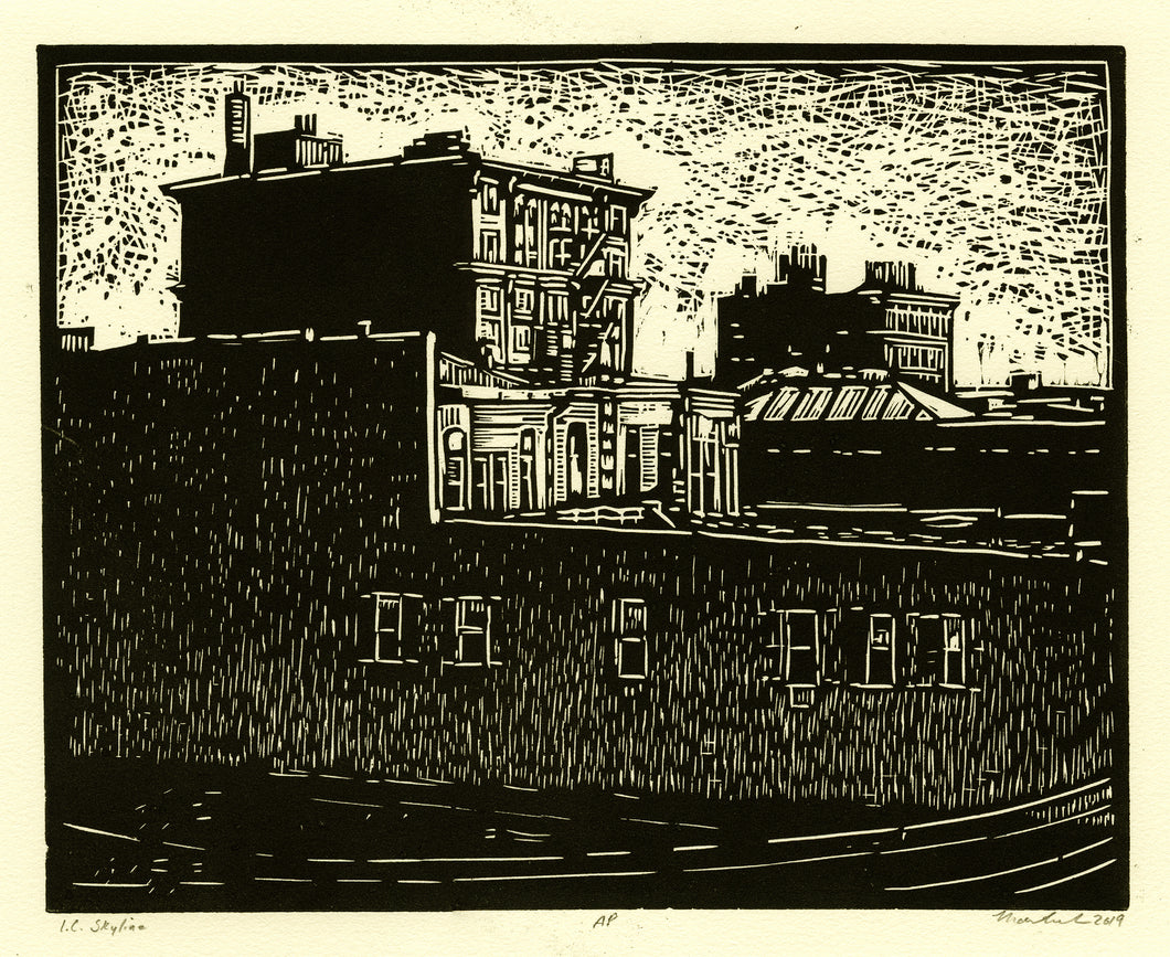 John Martinek: Iowa City Skyline Original Linoleum Block Print