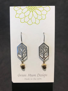 Green Mum Design: Stainless/Brass Tree & Acorn Earrings
