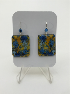 Karon Killian: Yellow w/ Blue Square Earrings