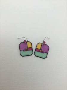 Karon Killian: Purple and Mint Square Earrings