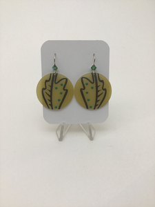 Karon Killian: Large Yellow w/ Green Oak Leaf Earrings