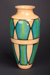 Steve Sinner & Joe Meirhaeghe: Maple Circus Pattern Blue Yellow Vessel 297