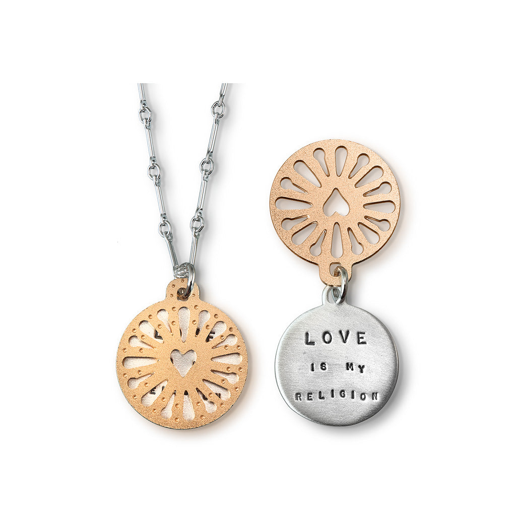 Kathy Bransfield: Pendant with Chain - Love Is My Religion