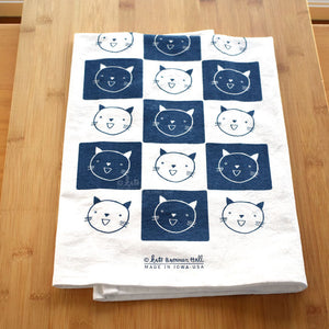 Kate Brennan Hall: Cat Grid Tea Towel