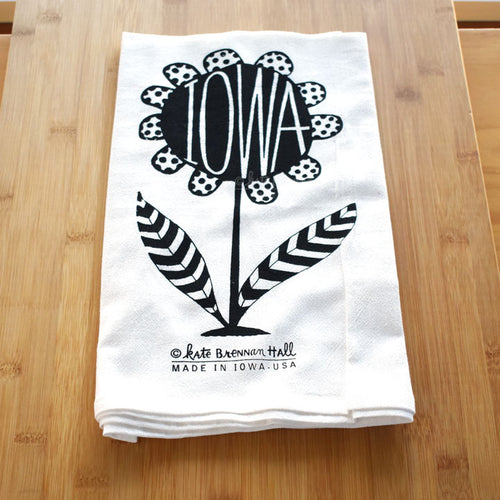 Kate Brennan Hall: Iowa Flower Tea Towel
