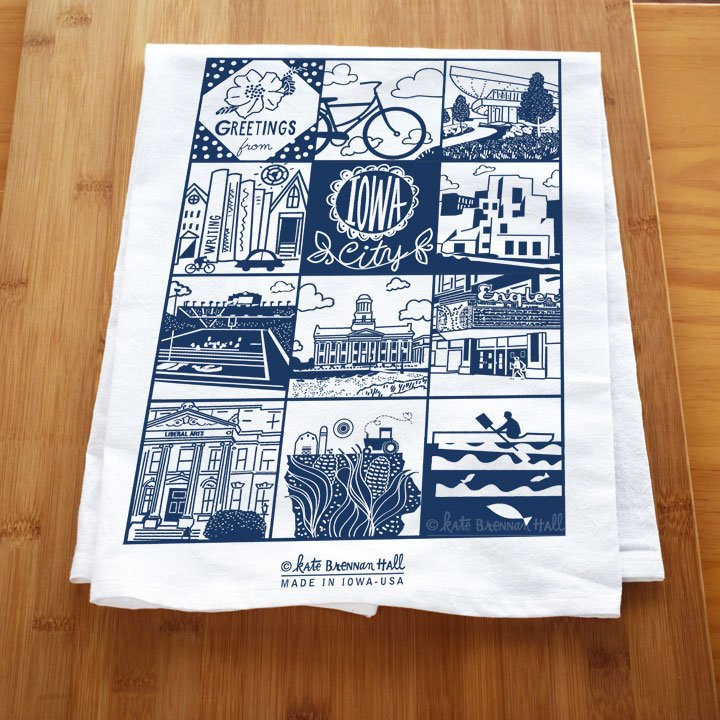 Kate Brennan Hall: Iowa City Icons Tea Towel