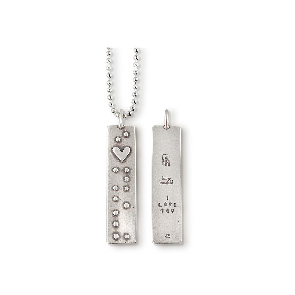 Kathy Bransfield: Pendant with Chain-Braille I Love You