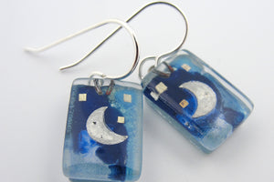 "Momo: ""Blue Moon"" Dangle Earrings"