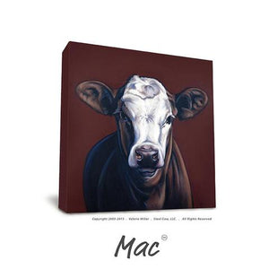 "Valerie Miller -- Steel Cow: Canvas Plaque- ""Mac"""