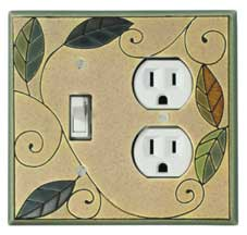 All Fired Up! Ltd. : Mosaic Leaves Switch Plate Covers